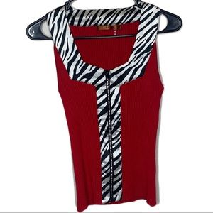 Belldini Y2k zebra print zip up sleeveless top